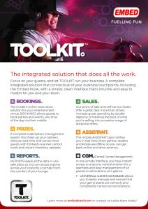TOOLKIT. The integrated software solution that...