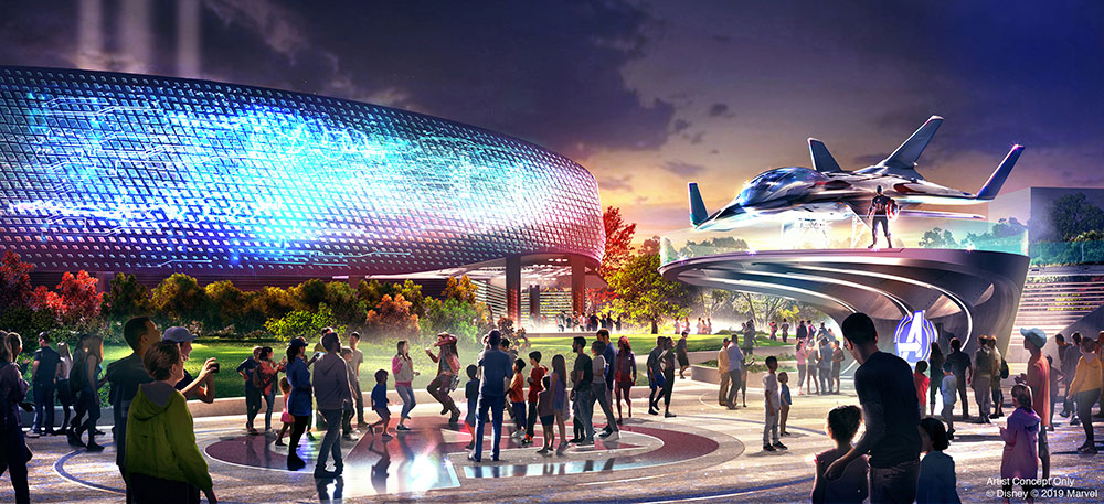 Artist impression of Marvel's Avengers Campus at Disneyland Paris