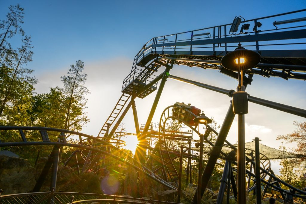 roller coaster at sunset at Le Jardin d'Acclimatation