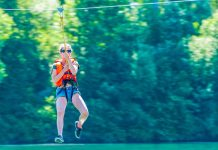 Zipline over river