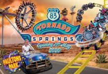 MK Themed Attractions Tornado Springs poster with cars and rides
