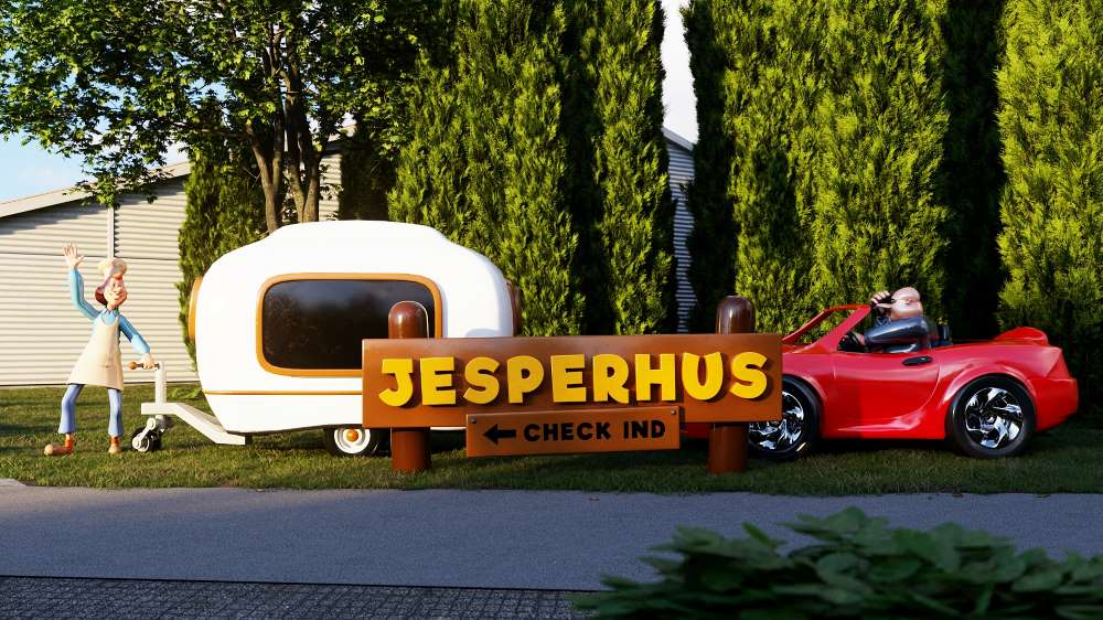Mk themed attractions large fibreglass car and caravan