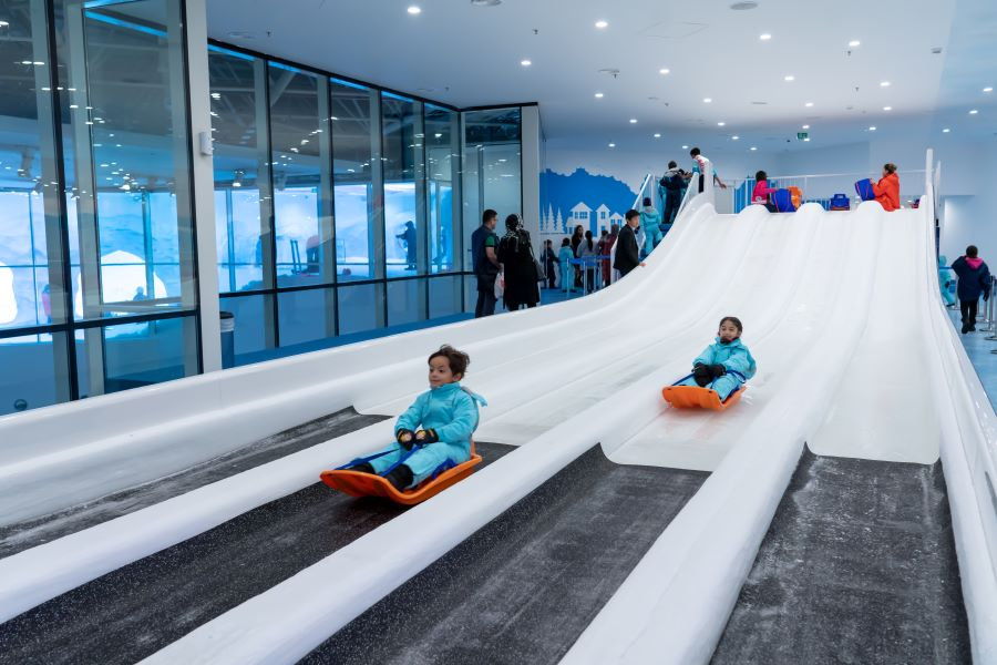 children playing on ice slides at Frostland ICE NOW