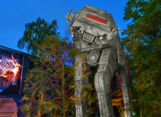 Exterior of Star Tours ride at night Walt Disney World