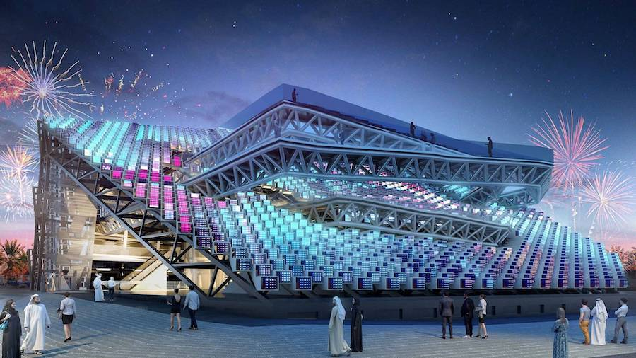 Korea pavilion at Expo 2020 Dubai at night