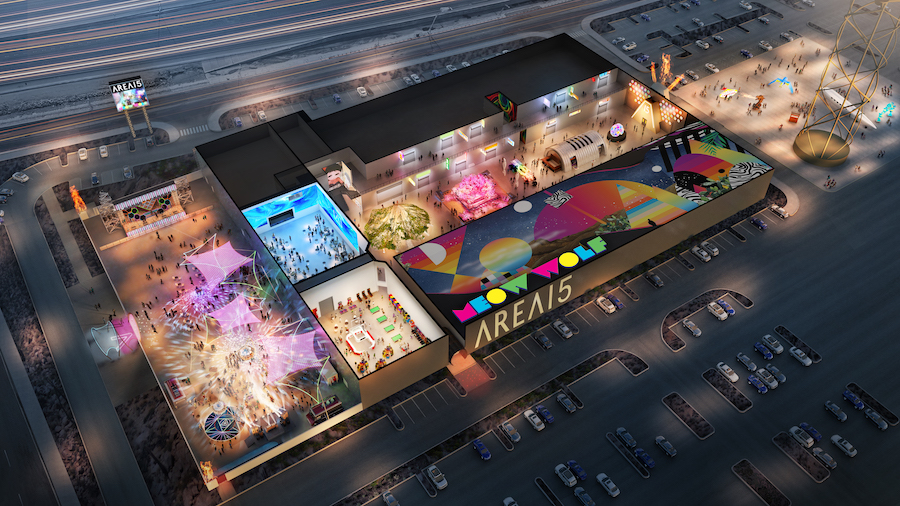 Aerial view of AREA15, immersive entertainment and retail experience in Las Vegas